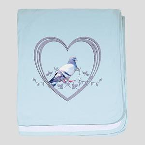 Pigeon in Heart baby blanket