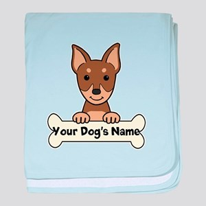 Personalized Min Pin baby blanket