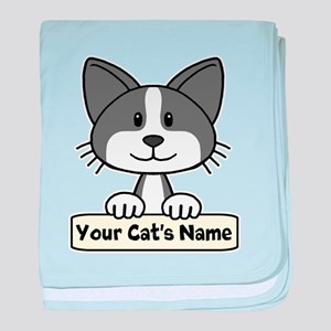 Personalized Black/White Cat baby blanket