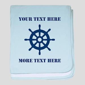 Custom Navy Blue Nautical Ship Wheel Baby Blanket