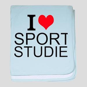 I Love Sports Studies baby blanket