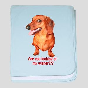 Looking at My Wiener Dachshun baby blanket