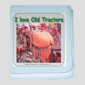 I Love old AC tractors baby blanket