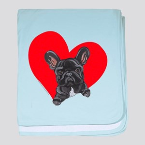 French Bulldog Love baby blanket