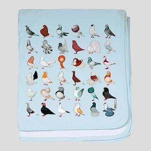36 Pigeon Breeds baby blanket