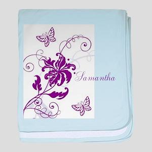 Purple Butterflies and Vines baby blanket