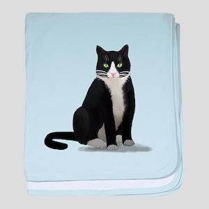 Black and White Tuxedo Cat baby blanket