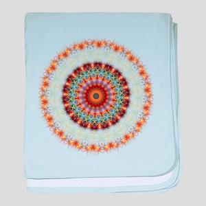 Detailed Orange Earth Mandala baby blanket