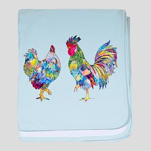 Rooster & Hen baby blanket
