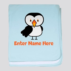 Personalized Puffin baby blanket