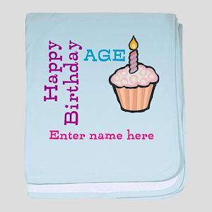 Personalized Birthday Cupcake baby blanket