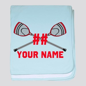 Personalized Crossed Goalie Lacrosse Sticks Red ba