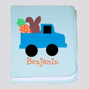 Easter time truck personalized baby blanket