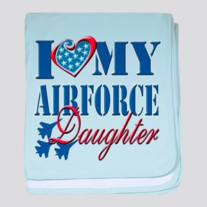 I Love My Airforce Daughter baby blanket