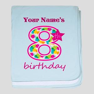 8th Birthday Splat - Personalized baby blanket