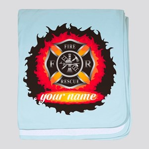Personalized Fire and Rescue baby blanket