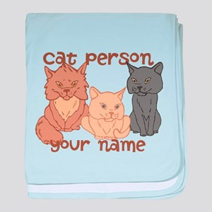Personalized Cat Person baby blanket