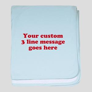 Three Line Custom Message baby blanket
