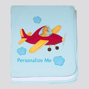 Personalized Airplane - Dinosaur baby blanket