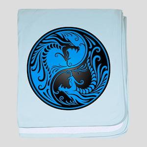 Blue and Black Yin Yang Dragons baby blanket