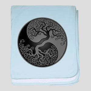Grey and Black Yin Yang Tree baby blanket
