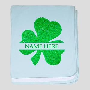 Custom Name Shamrock baby blanket