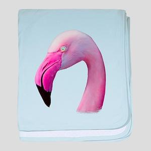 Pink Flamingo Portrait Close Up baby blanket