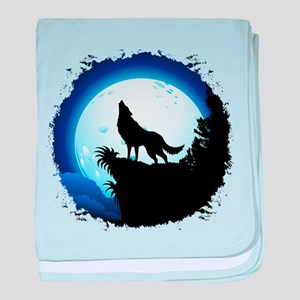 Wolf Howling at Blue Moon baby blanket