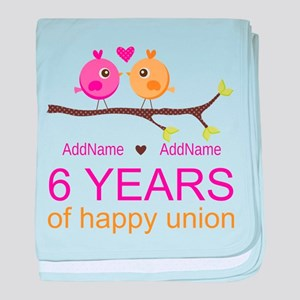 6th Anniversary Personalized baby blanket