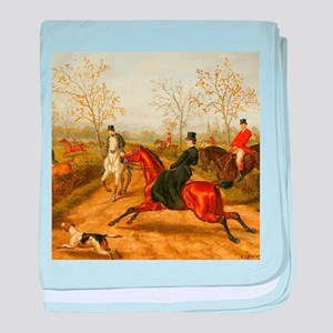 Riding Sidesaddle to the Hunt baby blanket