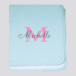 Personalized pink monogram baby blanket