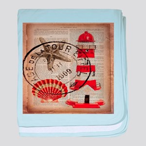 vintage lighthouse sea shells baby blanket