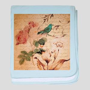teal bird vintage roses swirls botani baby blanket