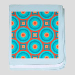 Orange and Blue Mid Century Modern baby blanket