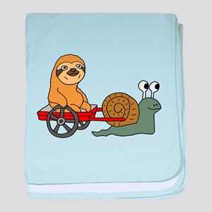 Snail Pulling Wagon with Sloth baby blanket