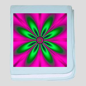 Green Flower on Pink by designeffects baby blanket