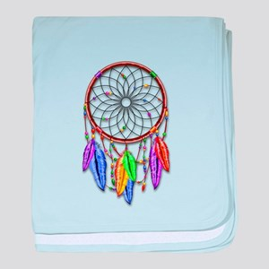 Dreamcatcher Rainbow Feathers baby blanket