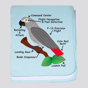 Anatomy of an African Grey Parrot baby blanket