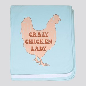 Crazy Chicken Lady baby blanket