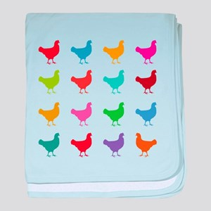 Colorful Chickens baby blanket