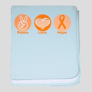 Peace Love Orange Hope baby blanket