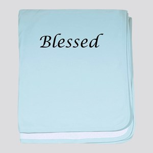 Blessed Calligraphy Style baby blanket