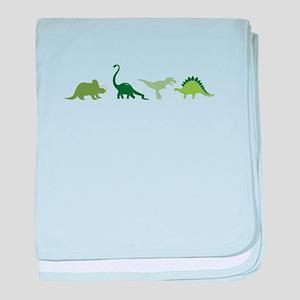 Dino Border baby blanket