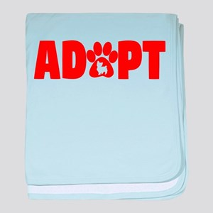 Cute Pets Paw Cat Dog Adopt Red baby blanket