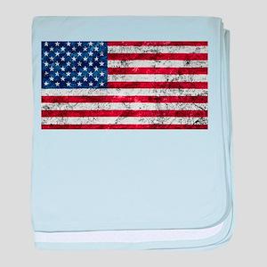 Grunge American Flag baby blanket