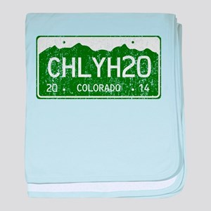 Chilly Water Colorado License Plate D baby blanket
