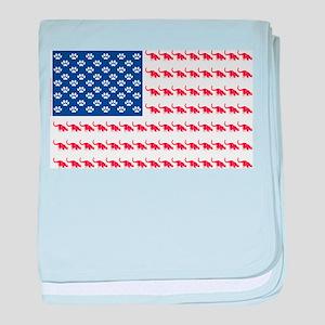 USA Patriotic Cat Flag baby blanket