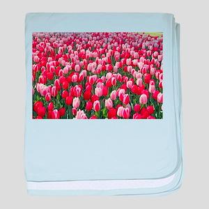 Red & Pink Tulips Holland Netherlands baby blanket