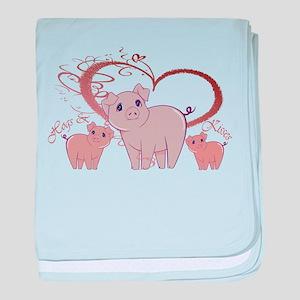 Hogs and Kisses Cute Piggies art baby blanket