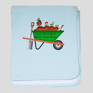 Personalized Green Wheelbarrow baby blanket
